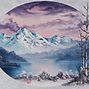 Crimson Frost Oval Art Print