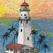 Diamond Head Lighthouse Hi Nautical Chart Map Art Art Print