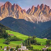 Dolomites From Val Di Funes Art Print