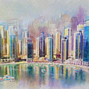 Downtown Dubai Skyline Art Print