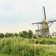 Dutch Landscape With Windmills Art Print