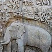 Elephant Sculpture At Mamallapuram  Art Print