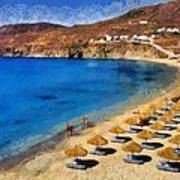 Elia Beach In Mykonos Island Art Print