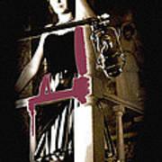 Film Noir Dance Hall Girl Looks Down On Robert Mitchum The King Of Noir Filming Old Tucson Az 1968 Art Print