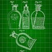Flask Patent 1888 - Green Art Print