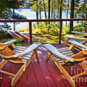 Forest Cottage Deck And Chairs Art Print by Elena Elisseeva