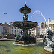 Fountain In The Pedro Iv Square Also Best Known As Rossio Square Art Print