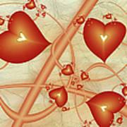 Fractal Red Hearts Art Print