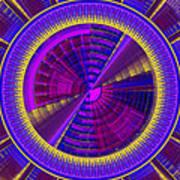Futuristic Tech Disc Fractal Flame Art Print
