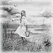 Girl And The Ocean Art Print