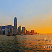 Golden Sunset In Hong Kong Art Print