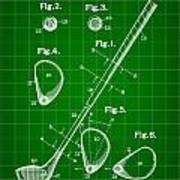 Golf Club Patent 1909 - Green Art Print