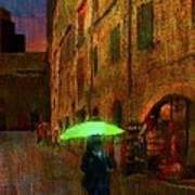 Green Umbrella Art Print by Patrick J Osborne