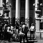 guided tour group outside the former national congress building Santiago Chile Art Print