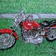 Harley Red Sportster Motorcycle Art Print