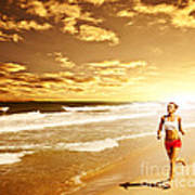 Healthy Woman Running On The Beach Art Print by Anna Om