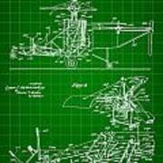 Helicopter Patent 1940 - Green Art Print