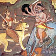 Hindu Goddess Durga Fights Mahishasur Art Print by Photo Researchers
