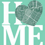 Houston Street Map Home Heart - Houston Texas Road Map In A Hear Art Print