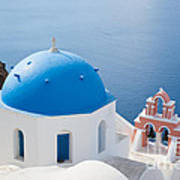 Iconic Blue Domed Churches In Oia Santorini Greece Art Print