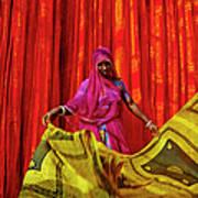 India, Rajasthan, Sari Factory Art Print