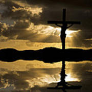 Jesus Christ Crucifixion On Good Friday Silhouette Reflected In  Art Print by Matthew Gibson