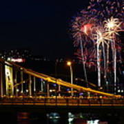 July 4th Fireworks In Pittsburgh Art Print by Jetson Nguyen