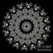Kaleidoscope Ernst Haeckl Sea Life Series Black And White Set 2 Print by Amy Cicconi