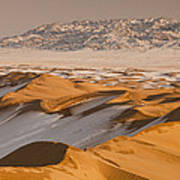 Khongor Sand Dunes In Winter Gobi Desert Art Print