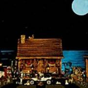 Log Cabin And Out House Scene With Old Vintage Classic 1908 Model T Ford In Color Art Print