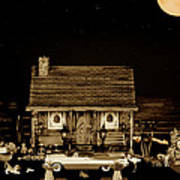 Log Cabin Scene With The Classic Old Vintage 1959  Dodge Royal Convertible At Midnight In Sepia  Art Print by Leslie Crotty