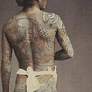 Man With Traditional Japanese Irezumi Tattoo Art Print by Japanese Photographer