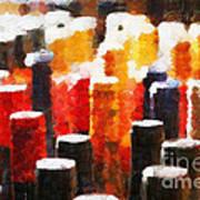 Many Wine Bottles Painting Art Print by Magomed Magomedagaev