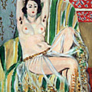 Matisse's Odalisque Seated With Arms Raised In Green Striped Chair Art Print