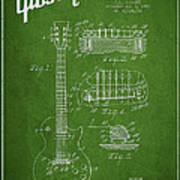Mccarty Gibson Les Paul Guitar Patent Drawing From 1955 - Green Art Print by Aged Pixel