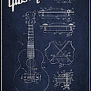 Mccarty Gibson Stringed Instrument Patent Drawing From 1969 - Navy Blue Art Print