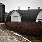 Michigan Barn With Grain Bins Rainy Day Usa Art Print