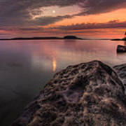 2 Mile Point Sunset And Moonrise Art Print