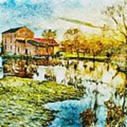 Mill By The River Art Print