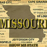 Missouri State Pride Map Silhouette  Art Print