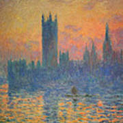 Monet's The Houses Of Parliament At Sunset Art Print