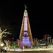 Monument Circle At Christmas Art Print by Twenty Two North Photography