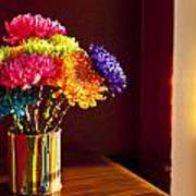 Multicolored Chrysanthemums In Paint Can Art Print