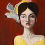 Natalie And Her White Bird Art Print
