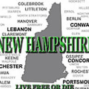 New Hampshire State Pride Map Silhouette  Art Print