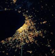 Night Time Satellite Image Of Chicago Art Print