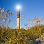 Oak Island Southport North Carolina Lighthouse Through The Cassw Art Print