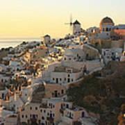Oia At Sunset Santorini Cyclades Greece  Art Print