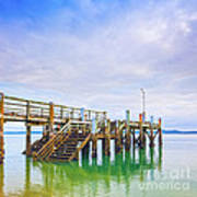 Old Jetty With Steps Maraetai Beach Auckland New Zealand Art Print by Colin and Linda McKie