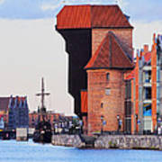 Old Port Crane In Gdansk Art Print